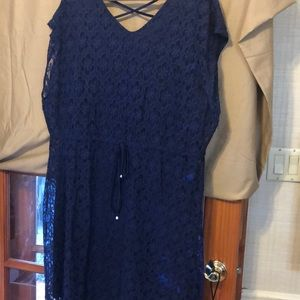 Navy blue lace fully lined dress waist draw string